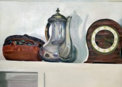 Five Eighteen is a still-life oil painting of a terracotta bowl, a sterling silver water pitcher and an antique German clock on a shelve.