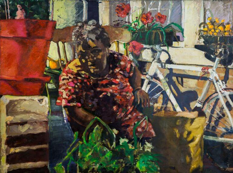 Oil painting of a woman sitting on her back porch trying to get shade from a plant