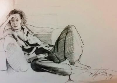 Lenora lounging| charcoal drawing