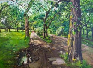 A landscape painting of scene of a biker riding toward you at Melrose Park in Chicago Ill