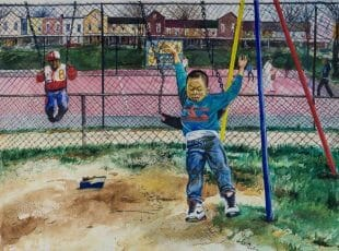 One, Two Three Jump is a wonderfully painted watercolor of a 10 year boy jumping from a swing. From his expression you feel his anticipation of landing on his feet.