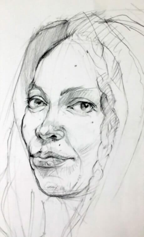 Facial Portrait, Charcoal, Drawing