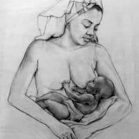 Woman breast feeding baby boy