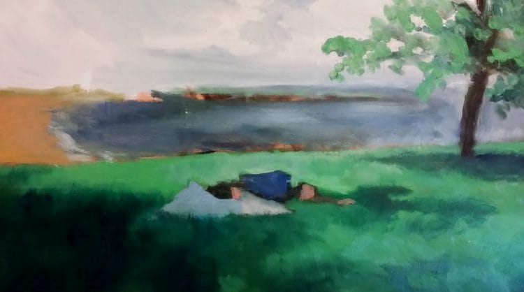 Man sleeping on the park grass, oil on canvas painting