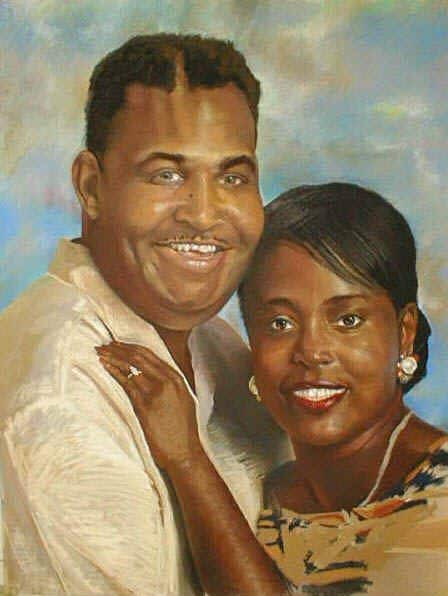 Pastel portrait of a woman and her boyfriend embracing in a pastel drawing.