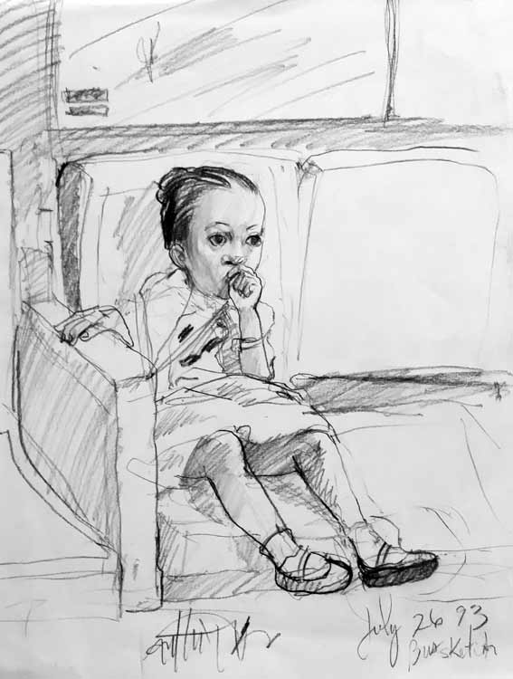 Bus Ride-Stetch of a toddler