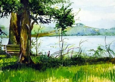 A watercolor painting of a park bench overlooking the Potomac river located outside of Washington, DC.