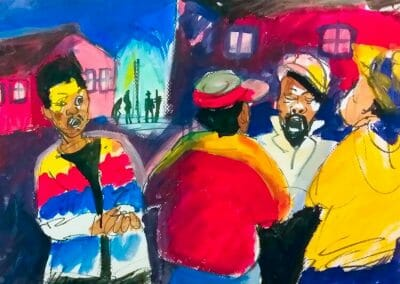 Melody under Street light is a colorful painting of four men singing. the colors are bright red, yellow, white, and blue.