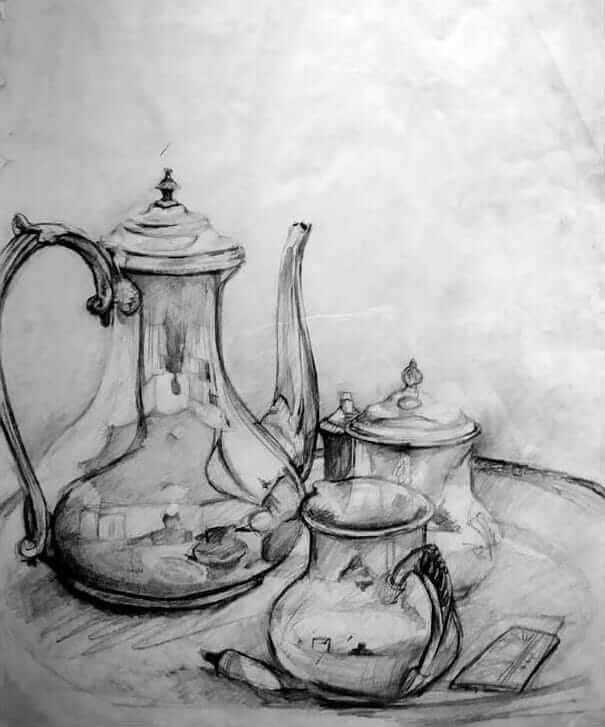 A still life setup of a silver pouring and other silver objects.