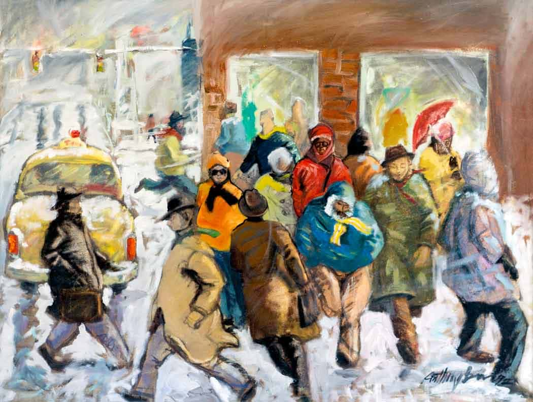 Chicago winter shows the amazing scene of predestine rush hour. there are people standing and crossing the corner of a busy intersection, while a yellow cab drives away.