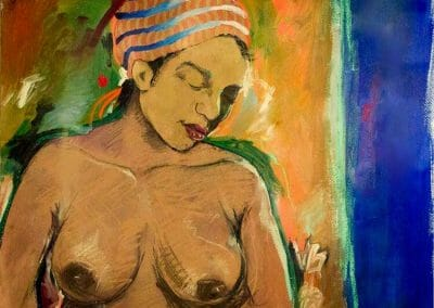 Hidden Expressions id a painting of a topless woman with a gold covering on her face as a facial mask looking down. There is a blue and orange drape behind her.