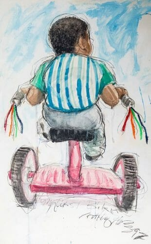 My first bike is a watercolor painting on paper of a boy seen riding away on a red tricycle with colorful tassels.