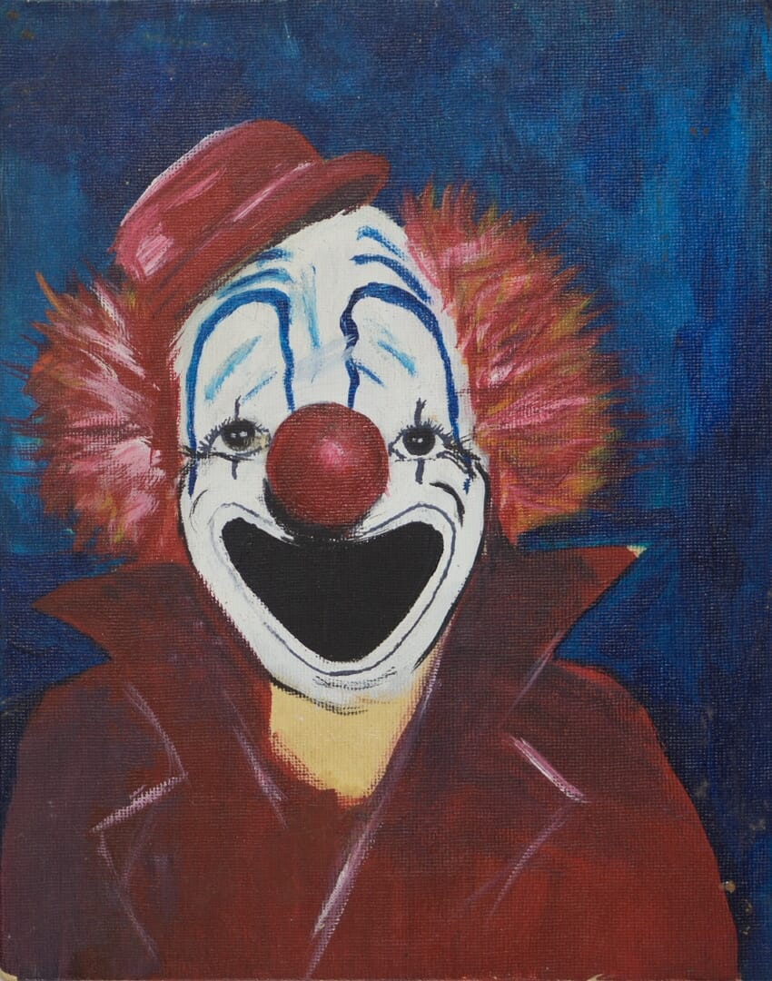 Clown 1976, acrylic on canvas board painting completed when I was fifteen.