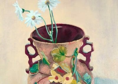 A yellowish brown oil painting of a clay floral designed vase with four long stem daises flowers in it. Painted by an African American Visual Artist