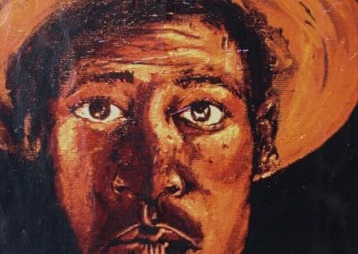 A acrylic self-portrait painting of me as of an inspiring me as a seventeen year old aspiring artist.