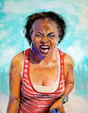 Artist Dr Anthony H Brown Woman in striped shirt expressing anger